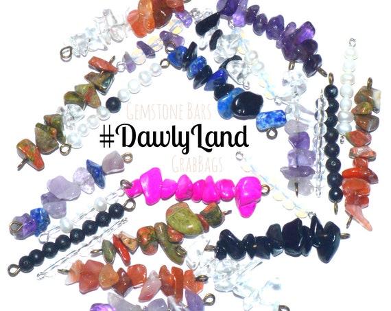 Gemstone Bar GrabBags ~ on Cotton Ties ~ Waistchain, necklace, anklet, bracelet, choker etc wrap piece