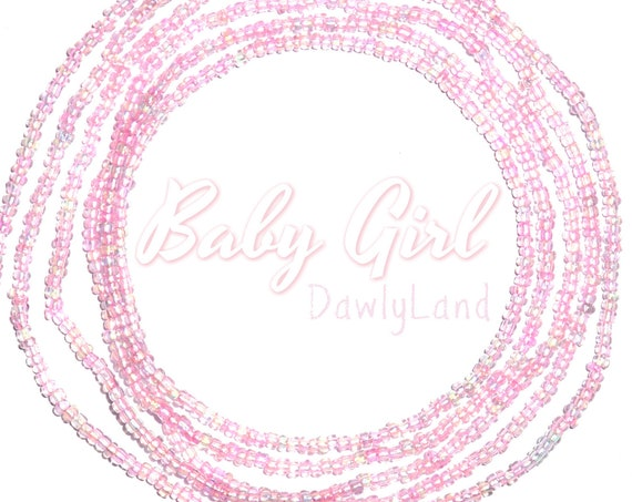 Baby Girl ~ Tiny Bead ~ Pink Custom Fit Waist Beads