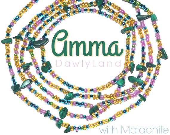 Amma ~ Made to Order Waist Beads with Malachite