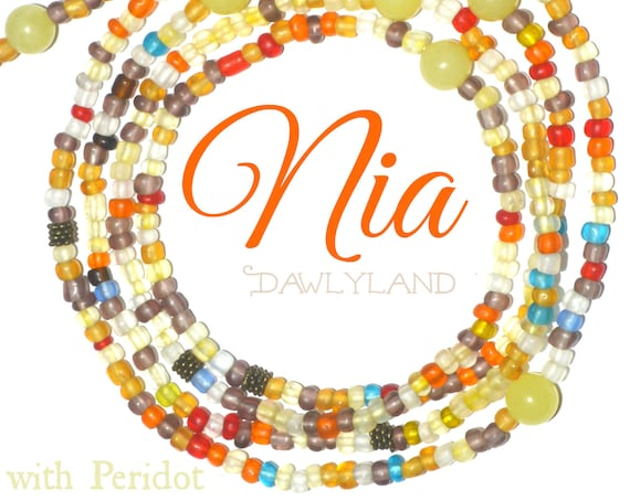 Nia ~ Elite Waist Beads One of a Kind CUstom Fit with Peridot