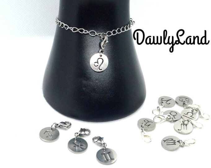 Stainless Steel Zodiac ClipCharms Set ~ Charm Bracelet or Waist Beads add on, Lock Jewelry & More