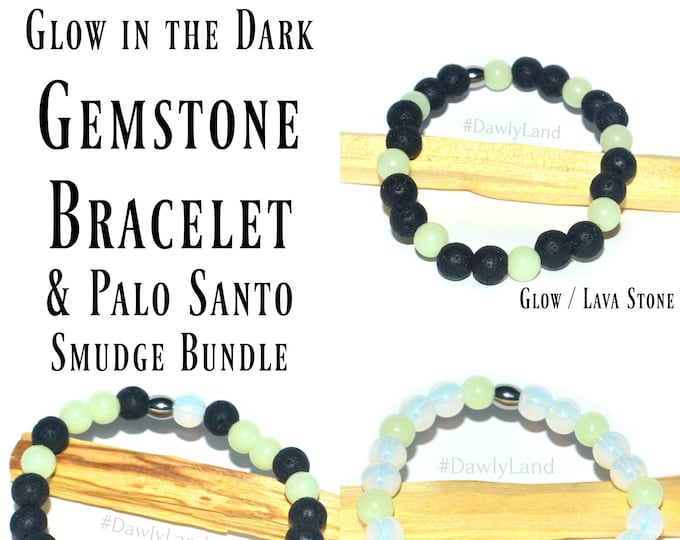 Glow in the Dark Gemstone Bracelet & Palo Santo Smudge Stick