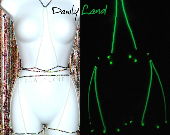 UFO ~ Waist Bead, Garter & Body Chain Set Glow in the Dark ~ Elite One of a Kind