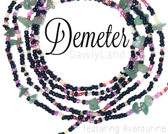 Demeter ~ Custom Fit Waist Beads & Mega Wraps with Aventurine