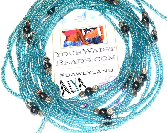 Waist Beads & More ~ALYA~ Bracelet Anklet or #Beadkini with Hematite and Sterling Silver Accents. LAST ONE