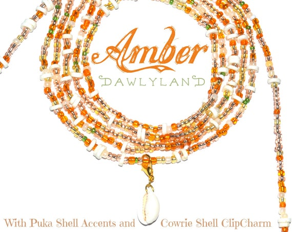 Amber ~ Custom Fit Waist Beads or Mega Wraps with Puka & Cowrie Shells