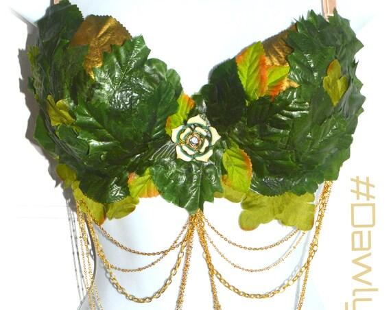 Rave Bra~ Eve ~Leaf & Chain with Vintage Centerpiece