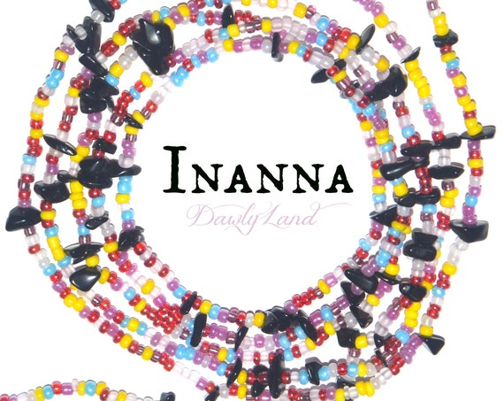 Inanna ~ Custom Fit Waist Beads & Mega Wraps with Black Obsidian