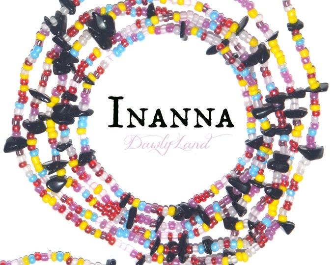 Inanna ~ Custom Fit Waist Beads & Mega Wraps with Black Obsidian
