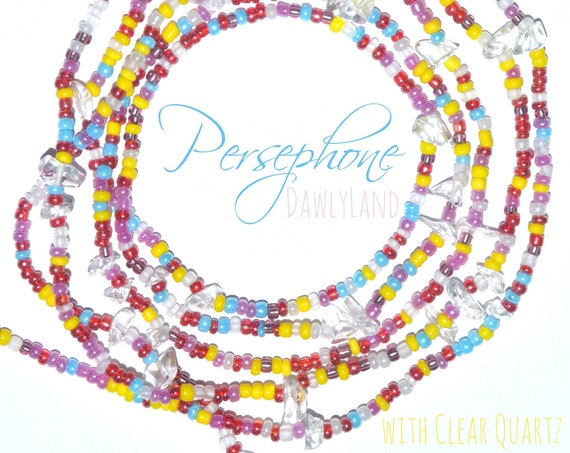 Persephone ~ Custom Fit Waist Beads & Mega Wraps with Clear Quartz