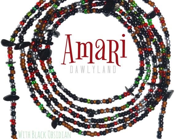 Amari ~ Custom Fit Waist Beads & Mega Wraps with Black Obsidian