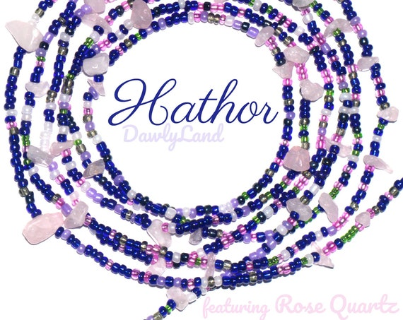 Hathor ~ Custom Fit Waist Beads & Mega Wraps with Rose Quartz