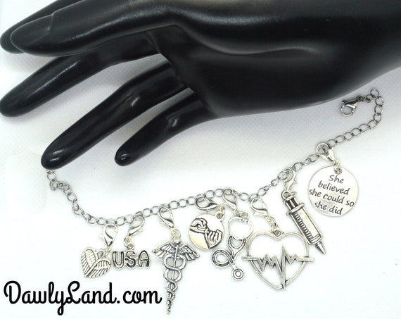 Nurse ClipCharms Set ~ Charm Bracelet or Waist Beads add on, Lock Jewelry & More