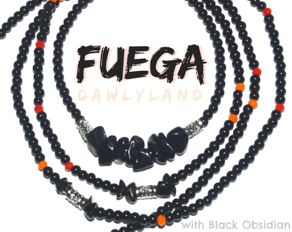 Fuega ~ Elite Waist Beads One of a Kind Custom Fit with Black Obsidian