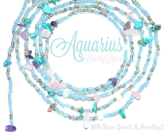 Aquarius ~ Custom Fit Waist Beads or Mega Wraps with Rose Quartz & Amethyst