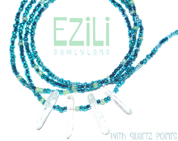 Ezili ~ Custom Fit Waist Beads & Mega Wraps with Clear Quartz Points