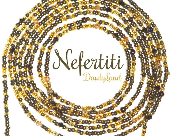 Nefertiti ~ Golden Crystal Custom Fit Waist Beads & Mega Wraps