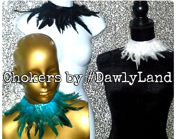 Feather Chokers ~ Black, Turquoise or White