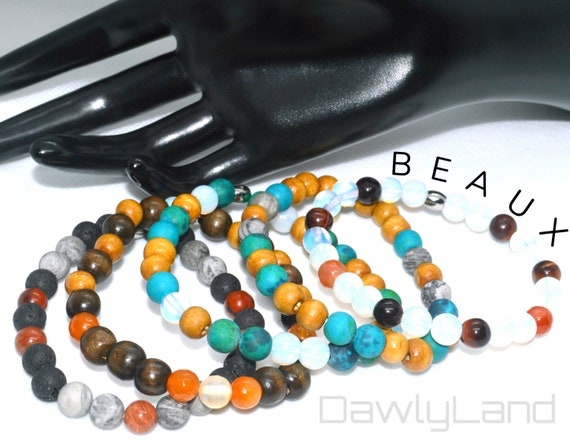 Beaux ~ Gemstone & Wood Bracelets, Custom Fit