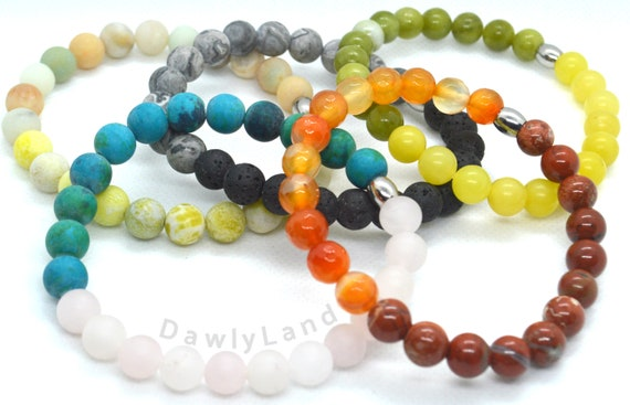 Two Tone Gemstone Bracelets ~ Custom Fit