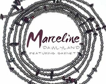 Marceline • Premium Waist Beads • with Garnet