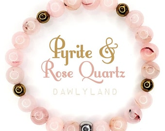 Rose Quartz & Pyrite • Premium Gemstone Bracelet