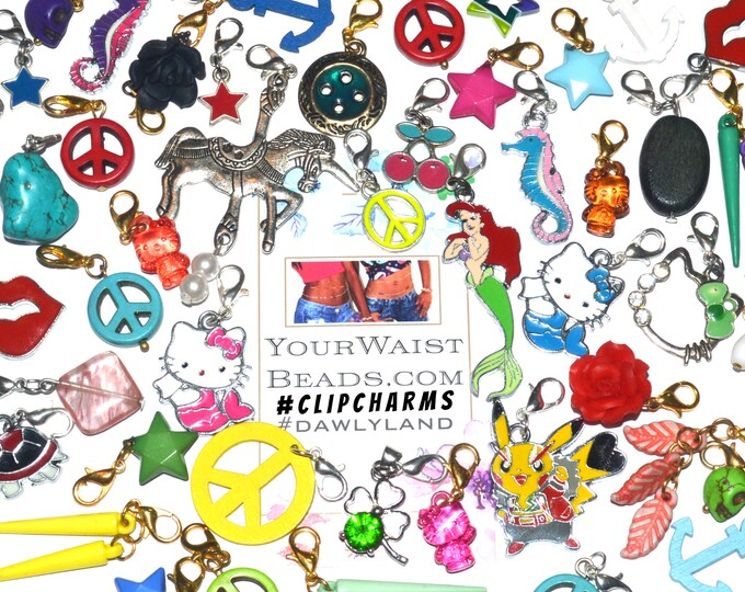 ClipCharms Grab Bags Charm Bracelet ~ clip to Waist Beads, Jewelry, Dreads and more!