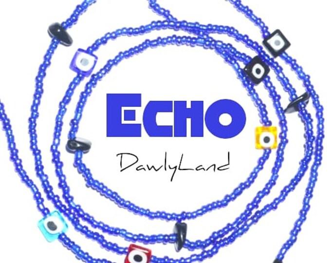 Echo • Premium Waist Beads • with Onyx & Evil Eye