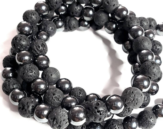 Ali • Large Bead Mix • Lava & Hematite