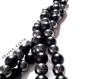 Sam • Large Bead Mix • Agate Hematite
