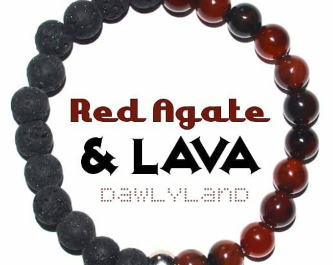 Red Agate & Lava Stone • Premium Gemstone Bracelet