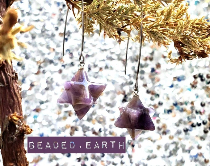 Amethyst Merkaba • Earrings or ClipCharms