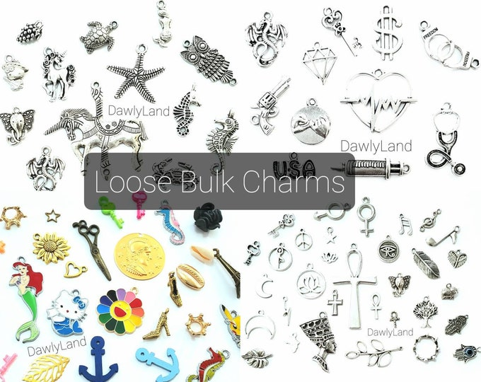 Loose Bulk Charms (no clips) for DIY Charm Bracelets, Waist Beads, Jewelry, Dreads and more!