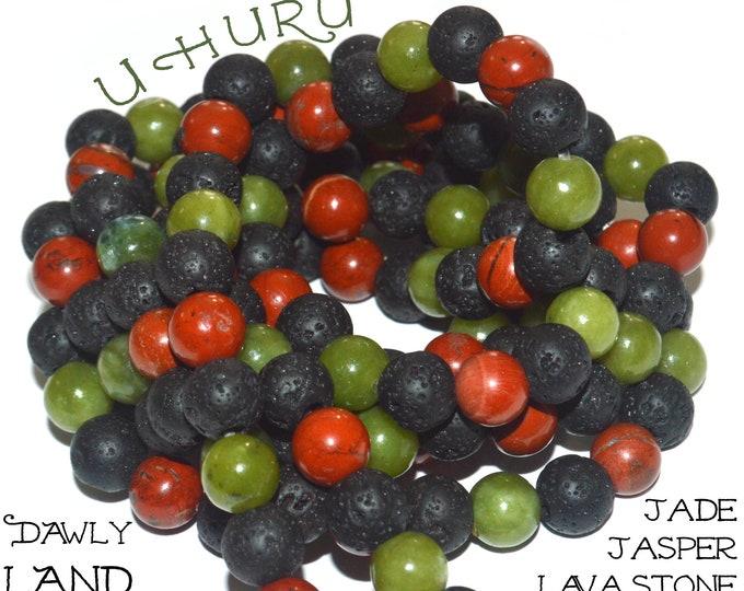 Uhuru~ Gemstone Waist Beads ~ Jade Jasper and Lava Stone