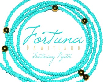 Fortuna • Deluxe Turquoise Waist Beads with Pyrite