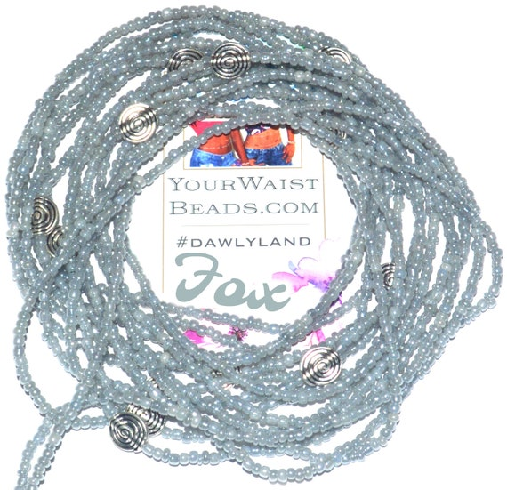 Fox ~ Gray Custom Fix Waist Beads with Metal Accents