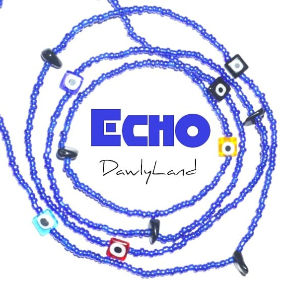 Echo • Premium Waist Beads • with Onyx & Evil Eye