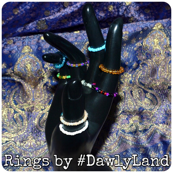 Beaded Ring GrabBag - 8 pc Stackable Mixed Finger & Toe Rings