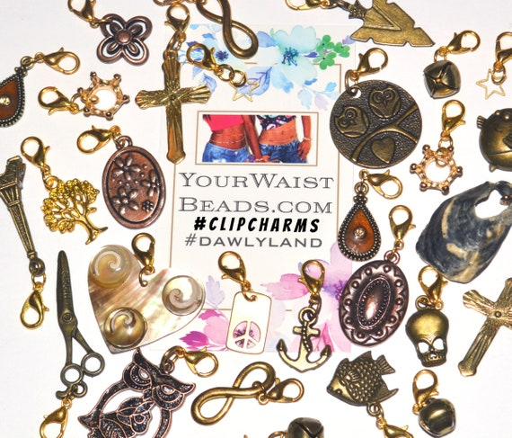 ClipCharms Grab Bags! 5 or 12 pcs + FREE Necklace ~ clip to Waist Beads Charm Bracelets and more!