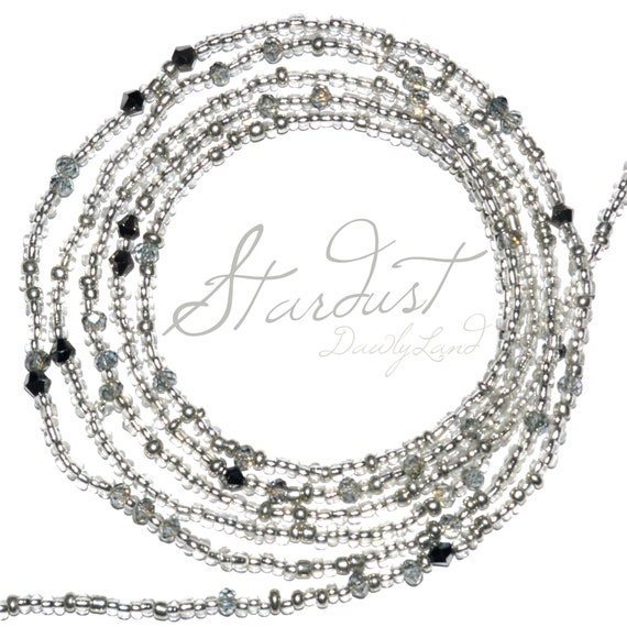 Stardust ~ Silver Crystal Custom Fit Waist Beads