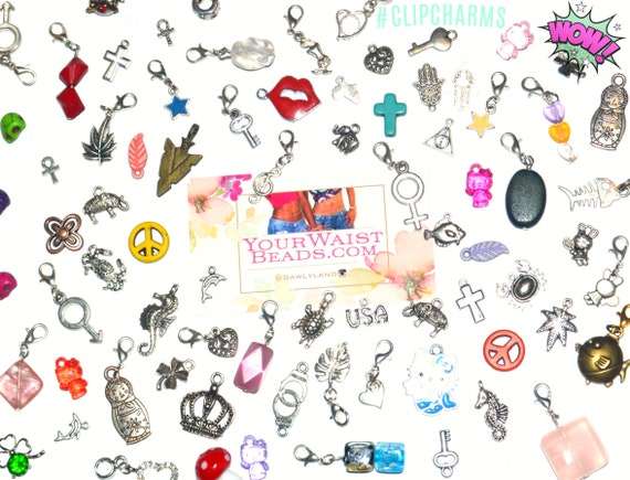 Clip Charms Grab Bag + FREE Necklace ~ clip to Waist Beads Charm Bracelets and more! YourWaistBeads.com