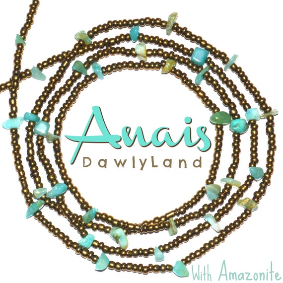 Anais ~ Deluxe Waist Beads with Amazonite Crystals