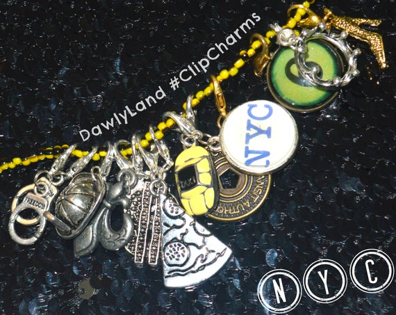 Select NYC ClipCharm Set + Black & Yellow Necklace ~ Clip to Anything! OOAK
