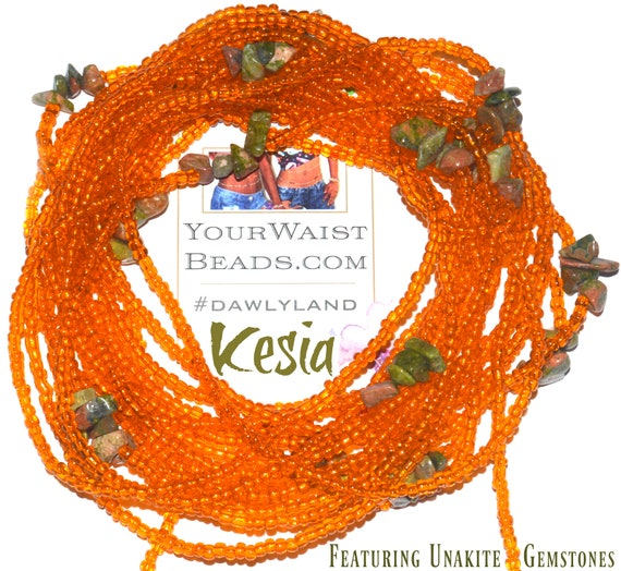 Kesia ~ Custom Fit Unakite Waist Beads