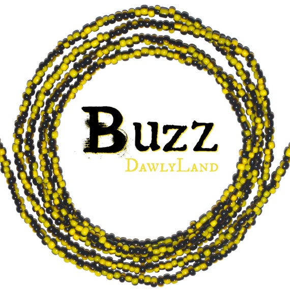 Buzz ~ Black & Yellow Custom Fit Waist Beads