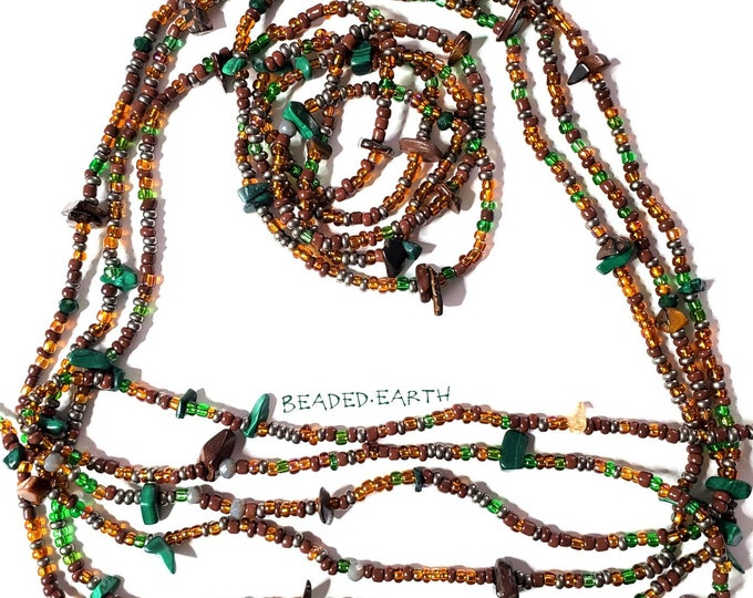 Featured listing image: Earth Kingdom • Tiger's Eye Malachite Avatar Inspired Waist Beads and Jewelry