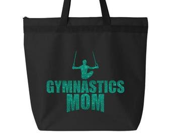 Gymnastics Tote Ladies Zippered TOTE Male Gymnast Sparkle Gymnastics MOM  Glitter Tote Bag Gift Mens Boys Gymnastics 8550c290a22c3