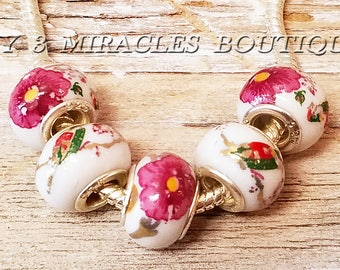 Pink Floral European Style Beads - Wholesale Bulk Lot Charms - Birds Flowers - Large Hole Beads - fits DIY Bracelets - Mother's Day Gift