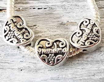 GRANDMA Charms - HEART Large Hole Beads - Embossed Silver - European Style Charms - Wholesale Bulk Lot - for Bracelets - Grandmother Gift