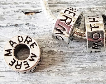 Mother Madre Mere Charms- Bulk Lot 5 10 20- Large Hole Beads- European Style Charms- Silver Eternity Circle Ring- Spacer Beads for Bracelets